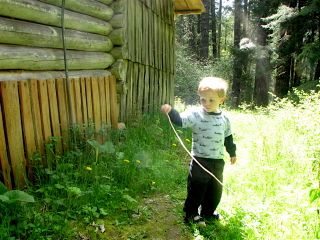 Isaac at Michael's cabin