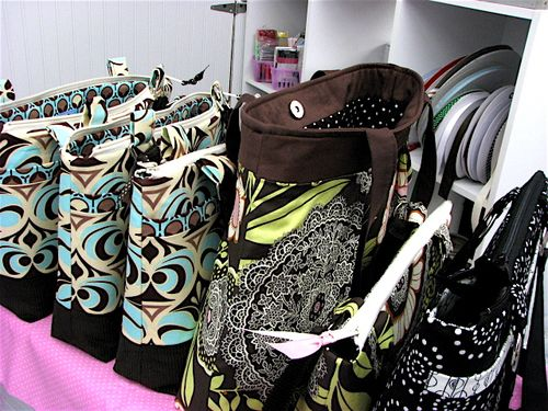Finished handbags in the studio
