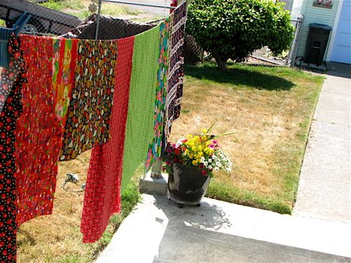Vintage fabric on clothesline