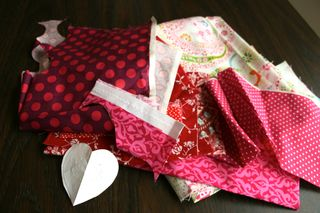 Pink and red fabric scraps