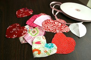 Cut out fabric hearts