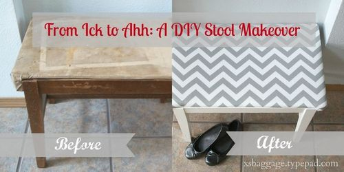 Chevron Stool Before After